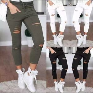 Skinny pants destroyed knee withe/green/black